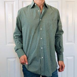 Luciano Barbera Green White Gingham Check Shirt L